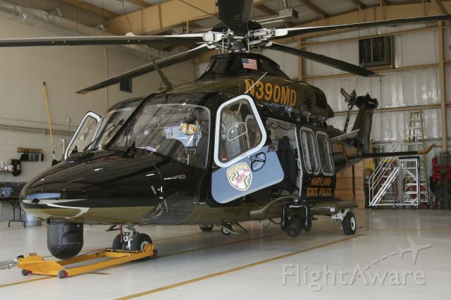 BELL-AGUSTA AB-139 (N390MD) - April 18, 2021 - rested inside hangar in Cumberland