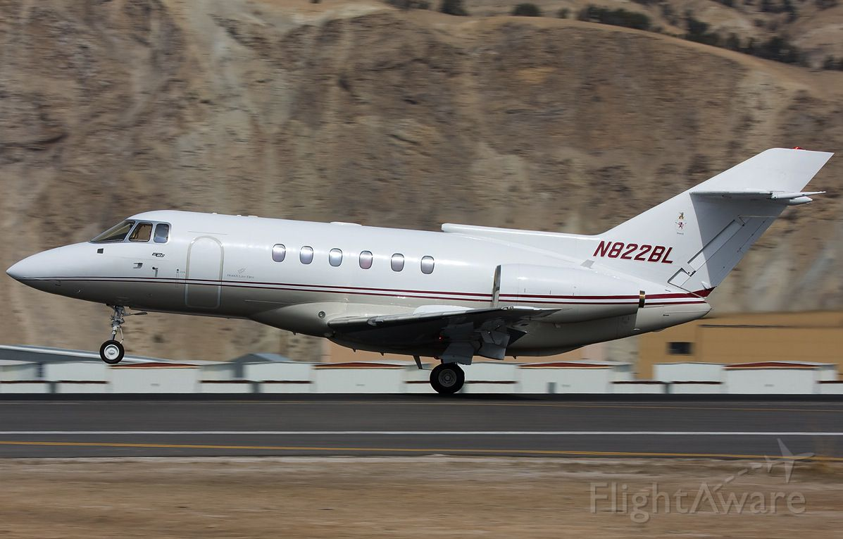 Hawker Siddeley HS-125-400 (N822BL) - A Hawker 800 owned by the Branch Law Firm touches down at Eagle County Airport in Vail, CO.