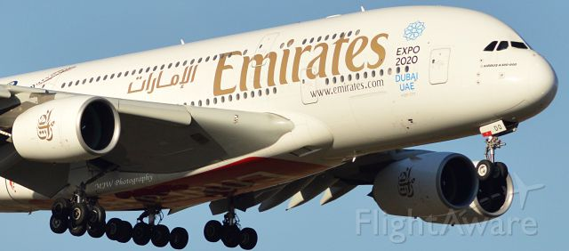 Airbus A380-800 (A6-EDO) - On approach to runway 35 on a beautiful Sunday morning.