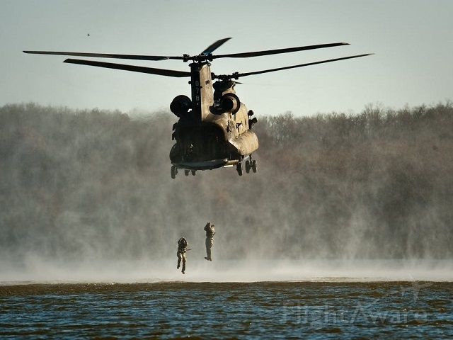 ASAP Chinook (ARMY) - This is a lake jump training exercise. <br /> The CH-47 is among the heaviest lifting Western helicopters. <br />The Boeing CH-47 Chinook is an American twin-engine, tandem-rotor, heavy-lift helicopter. The Chinook has been in U.S. Army service since 1962.