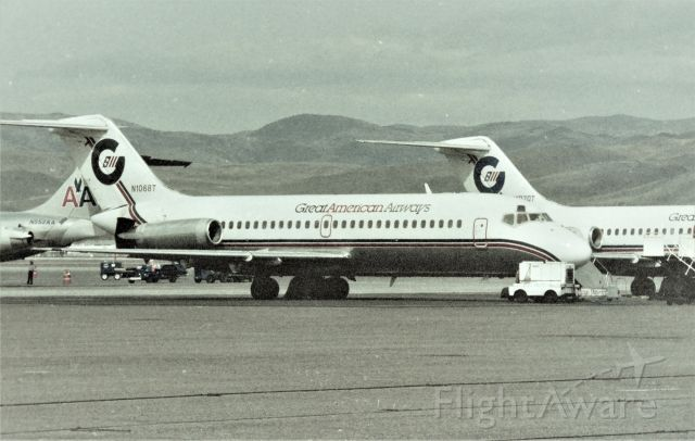 Douglas DC-9-10 (N1068T) - KRNO - 2 of 4 Great American Airways DC-9s on the ramp this day at Reno, and if my memory serves correctly, this was after Great American ceased operations as all 4 DC-9s were parked here this photo op. I'm still looking for those negatives.
