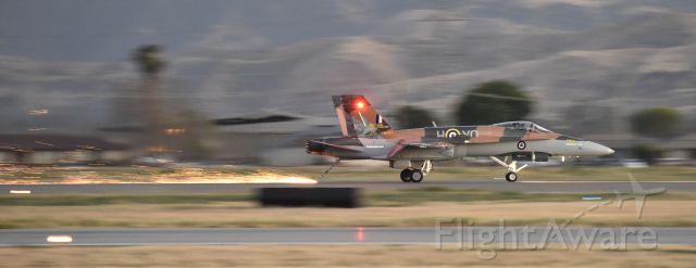McDonnell Douglas FA-18 Hornet (18-8761) - Landing at dusk with the tail hook down