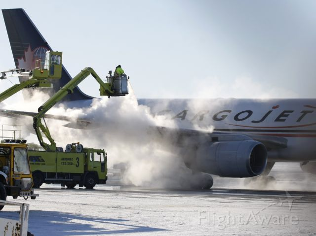 Boeing 757-200 (C-FKCJ) - Jan 17, 2011 - De-icing at -23°C produces some nice effects