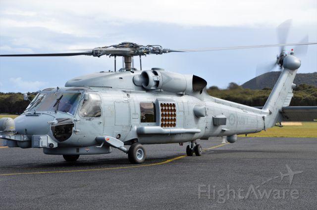 Sikorsky S-70 (N48011) - Navy Seahawk N48-011 taxiing at Flinders Island for Merimbula, Sept 2018