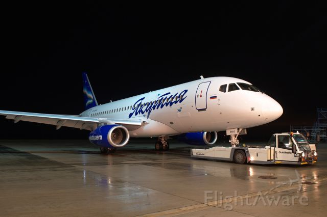 Sukhoi Superjet 100 (RA-89012) - The first Sukhoi Superjet 100 for Yakutia Airlines - in Eirtech Aviation painting facility.