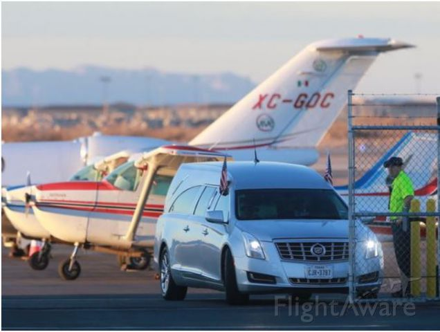 XC-GDC — - Cessna 525B Citation CJ3 s/n: 525B-0062 - Gobierno del Estado de Chihuahua, MX - February 14, 2016 - KELP El Paso International (Atlantic Aviation FBO) - Exiting FBO in the foreground is a hearse that carried the body of Justice Antonin Scalia to a chartered aircraft for it