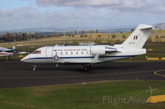 Canadair Challenger (A37001) - Taxiing to Apron YBTH after flight from QLD