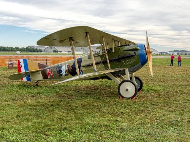 N103JH — - Spad XIII replica of Captain James Norman Hall's plane he flew for the French in the Lafayette Escadrille at the 2018 Dawn Patrol, The National Museum of the United States Air Force is in the background