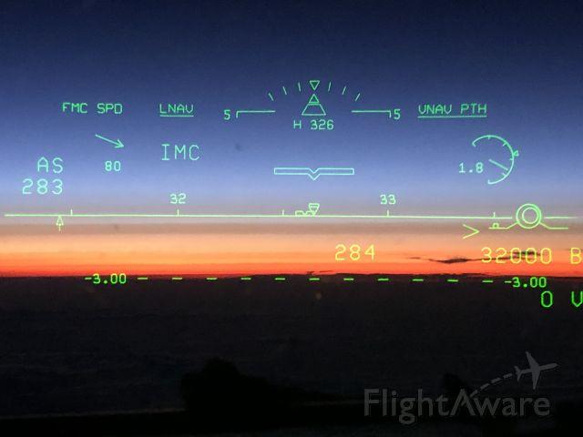Boeing 737-900 — - Sunset through the HUD