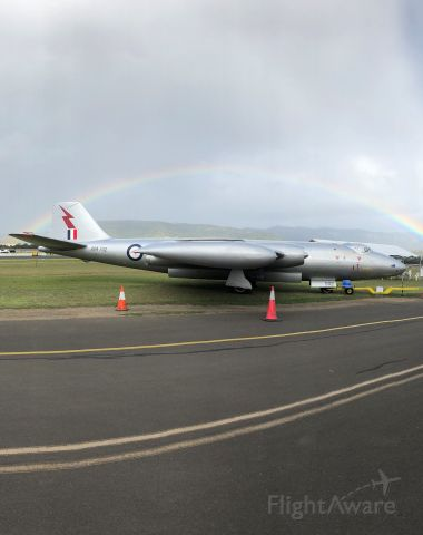 A84502 — - English Electric Canberra Bomber Taken just after a rain shower at Wings Over Illawarra 2019 with a great rainbow as well.
