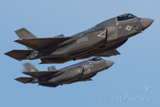 Lockheed F-35C (16-9624) - The latest USMC F-35B takes flight with a USAF F-35A acting as chase.