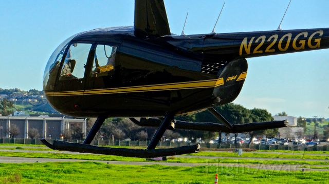 Robinson R-44 (N220GG) - Locally-based Robinson R44 II taxing back to its hangar at Reid Hilview.