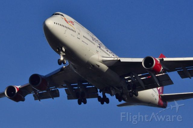 Boeing 747-400 (G-VLIP) - Taken from The Flying Horse pub end of Style Road , Wythenshawe
