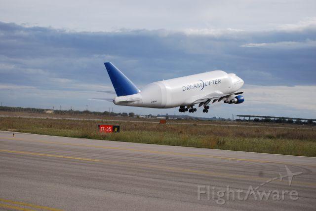 Boeing 747-400 (N780BA) - LCF B747-400Take-off from Grottaglie Apt ( Taranto ), Italy on 05Dic2011
