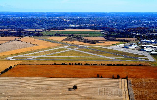 — — - Brantford Municipal Airport - City of Brantford is in the background