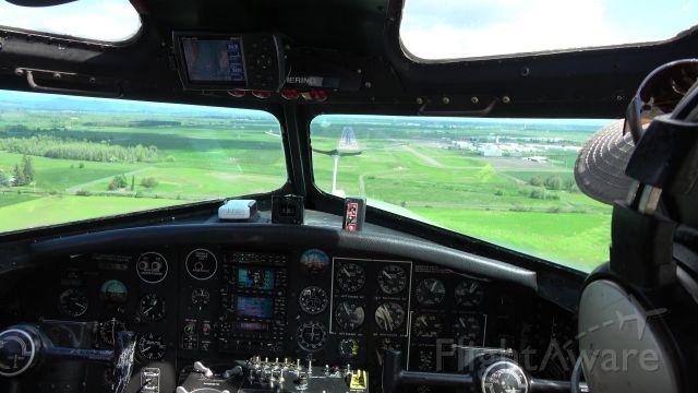 — — - View from Cockpit landing 34L KEUG in Aluminum Overcast B-17