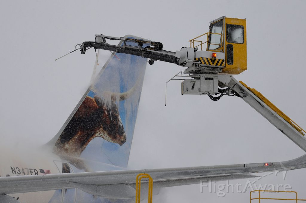 N347FR — - A closeup shot of deicing operations on Lonestar the Longhorn Steer, a new Frontier Airbus A320 neo on the morning of 1 Apr 2021.