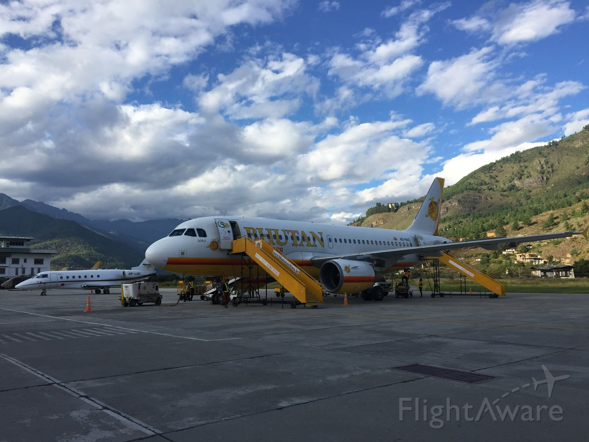 Airbus A319 (A5-BAC) - Bhutan airlines Airbus 319 at Paro Inrernational Airport