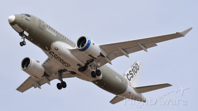 Bombardier CS100 (C-GWXJ) - Bombardier Aerospace CS100 Experimental performing a go-around on Runway 17L at Colorado Springs