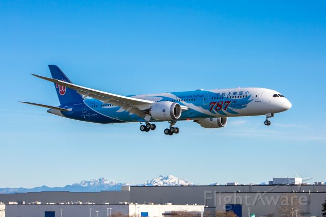 Boeing 787-8 (B-1168) - BOE936 / B1168 makes a final approach into KPAE on its first 2 hour flight round trip from Moses Lake on 12-7-2018