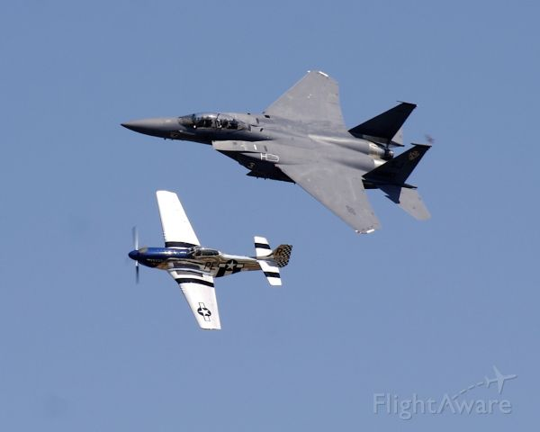 North American P-51 Mustang — - Heritage Flight with an F-15 at Airventure 2007
