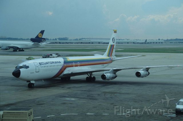Boeing 707-300 (HC-BHY) - Taxing at Miami Intl Airport on 1990/08/30