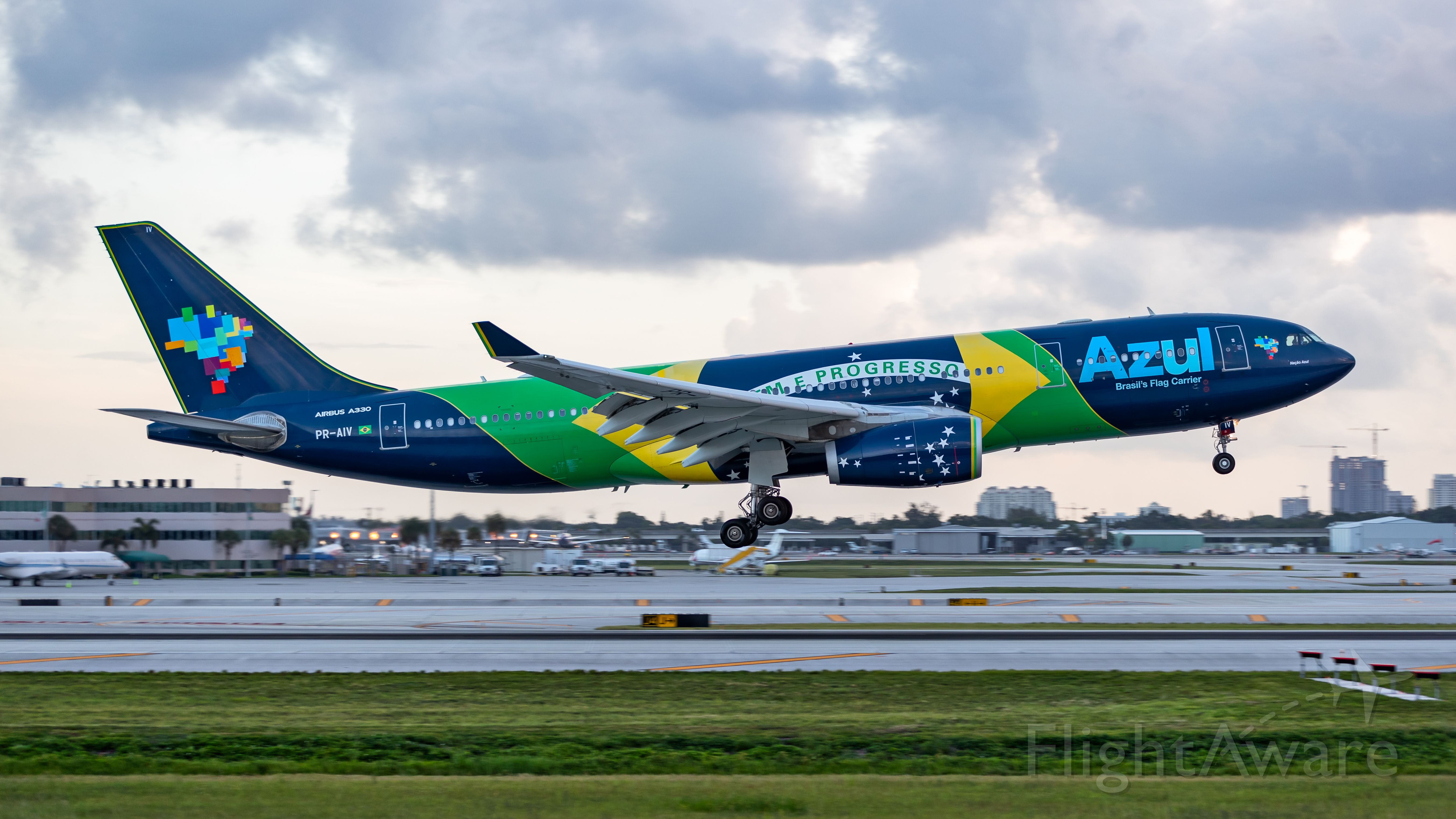 Airbus A330-300 (PR-AIV) - Azul A330 landing on runway 10R on a early Saturday morning.