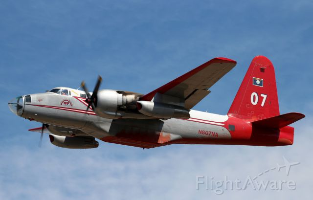 Lockheed P-2 Neptune (N807NA) - Departing Rogue Valley Intl Airport for the Happy Camp Complex fires.