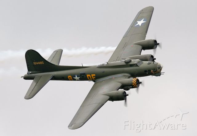 Boeing B-17 Flying Fortress (G-BEDF) - [cn.8693]. Boeing B-17G [229] Flying Fortress G-BEDF. Sally B burns oil smoke from the port engine to simulate a fire at the RAFA Airshow Shoreham EGKA Airport UK 2.9.2012.