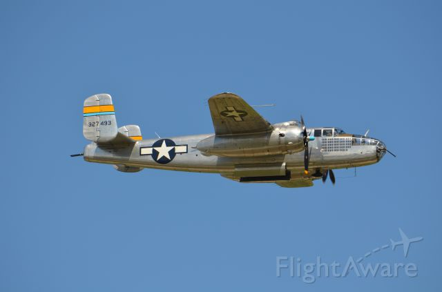 North American TB-25 Mitchell (N27493) - Deke Slayton Airfest June 2014. B-25 Miss Mitchell fly by with bomb bay doors open.