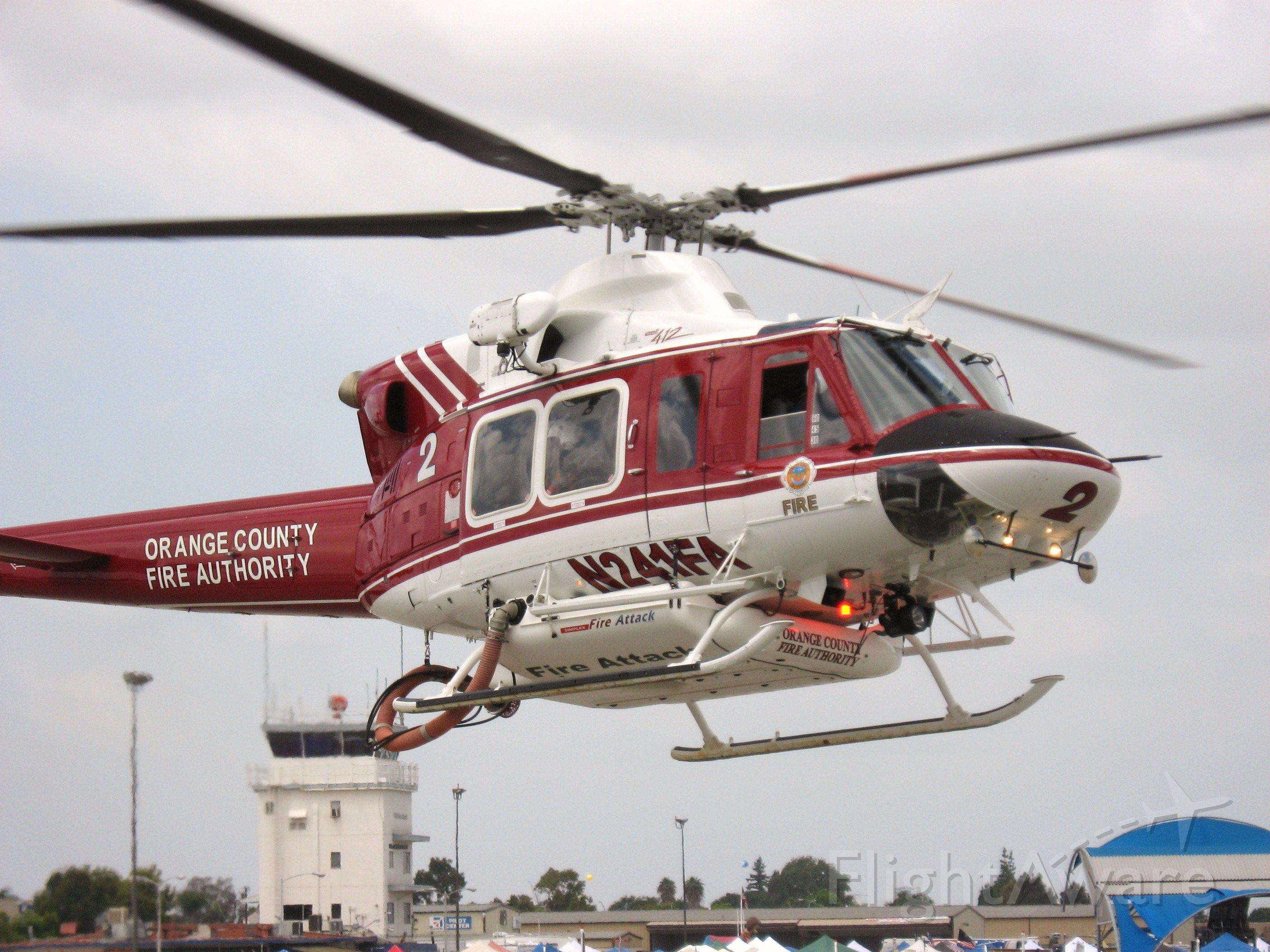 Bell 412 (N241FA) - Orange County Fire Authority Fire 2 landing at Fullerton