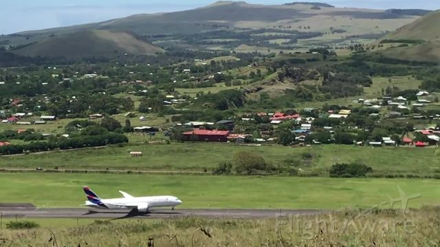— — - Wheels up on an eastbound departure at Mataveri International Airport, Easter Island.