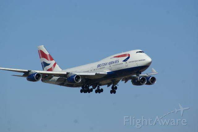 Boeing 747-400 (G-BNLL) - British Airways flight 193 landing at KDFW.