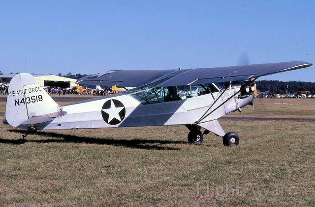 Piper L-21 Super Cub (N43518) - Imported PA18 at Maitland NSW on 12 June 1988 photo by Bob Livingstone. Was not Australian registered until February 2018 assume this after a long restoration.