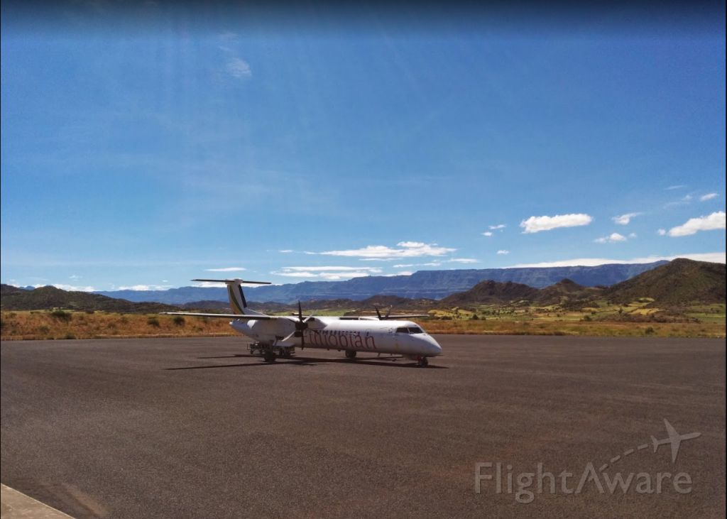 de Havilland Dash 8-400 (ET-ANV) - Upon arrival in the famous city of Lalibela. Love the color combination in this photo!