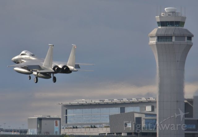 McDonnell Douglas F-15 Eagle (80-0020) - F15 about to roar past the PDX control tower for 28L