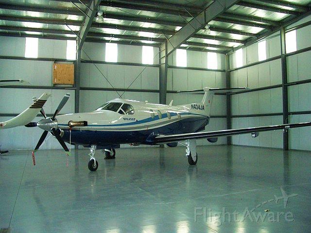 Pilatus PC-12 (N434JA) - In hangar at Freeman Field, Louisa County (KLKU).