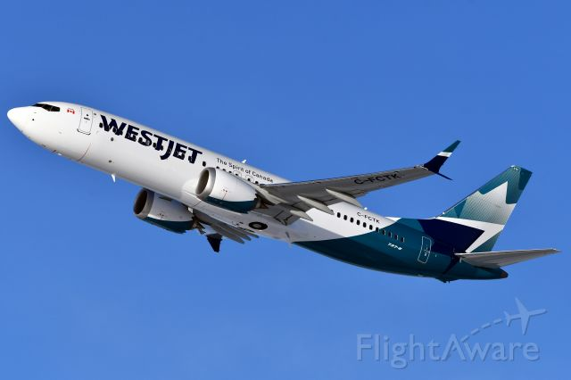 Boeing 737 MAX 8 (C-FCTK) - Westjet's newest Boeing 737 MAX8 heading out of YYC on it's first revenue flight on Dec 9