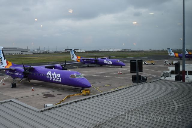de Havilland Dash 8-400 (G-PRPE) - Two purple Flybe  aircraft together