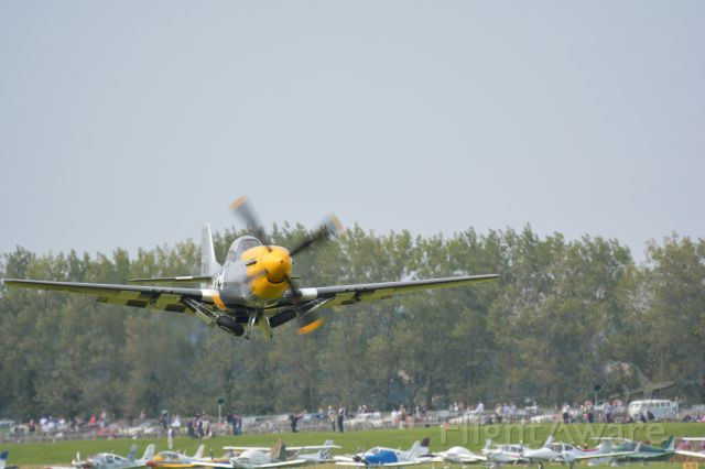"""North American P-51 Mustang (G-BTCD) - P51D """"Ferocious Frankie"""" just after take off at Goodwood Airport on 11 Sep 2015"""