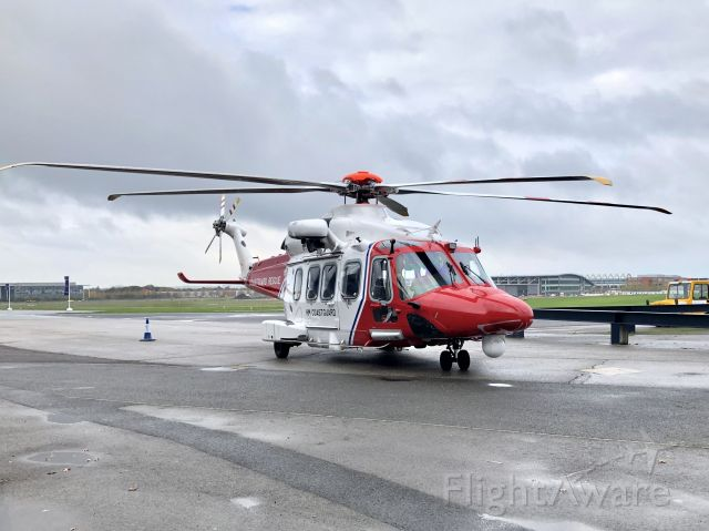 AgustaWestland AW189 (G-MCGW) - HM Coastguard AW189 on the ground at Farnborough positioned outside the conference centre on Tuesday 5th November 2019 at the time of the Vertical Flight conference.