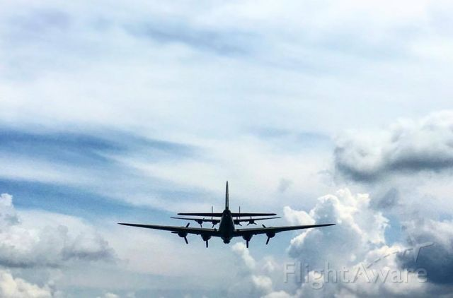 """Boeing B-17 Flying Fortress (SAI93012) - B-17G """"Nine-O-Nine"""" follows B-24J """"Witchcraft on August 2, 2017 on a move from KRFD to KIKK.  Photo by Collings Foundation Flight Coordinator Jamie Mitchell."""