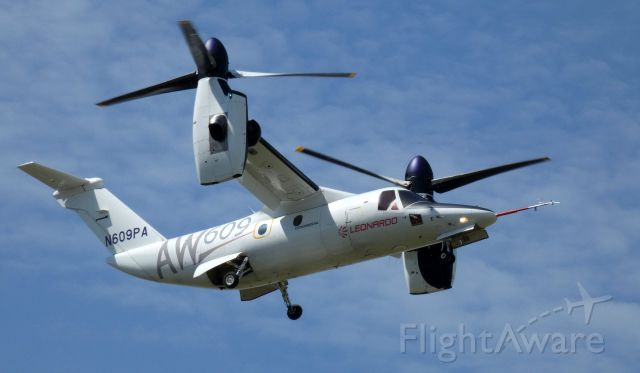 Bell BA-609 (N609PA) - A moment before touching down at the Leonardo Helo facility is this is 2016 AgustaWestland Tiltrotor Aircraft AW609 in the Spring of 2020.