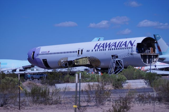 BOEING 767-300 (N594HA) - While some of Hawaiian's Boeing 767-300ER fleet has gone on to serve with United Airlines, this one will not.  Photographed at Marana AZ in the S.E scrapping area on October 18th 2019.