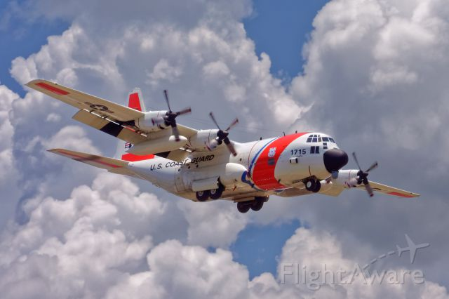 Lockheed C-130 Hercules — - 1715 over the fence at Coast Guard Air Station Clearwater (KPIE). On my way to the doctor I saw them doing a touch and go, and I always have one of my cameras with me :).