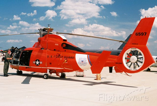 Aerospatiale Dauphin 2 (SA-365C) (USCG6597) - HH-65B Dolphin from USCG Aviation Training Center Mobile on ramp display at Barksdale AFB for 2005 Airshow.<br />Aircraft is now HH-65C assigned to USCG Station Port Angeles.