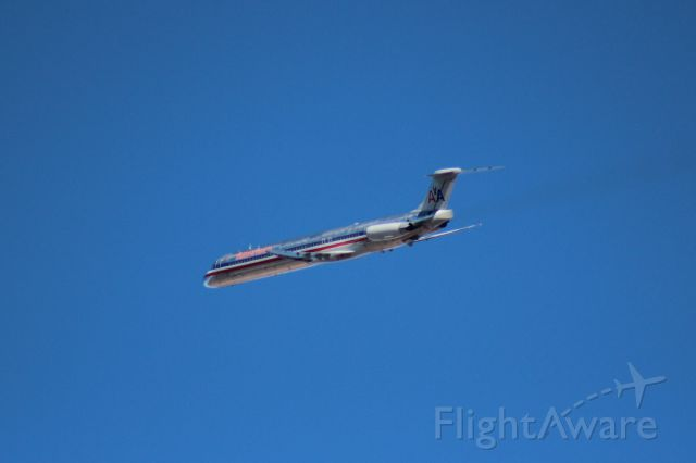McDonnell Douglas MD-83 (N434AA) - 011714 on the turn after take-off from Omaha