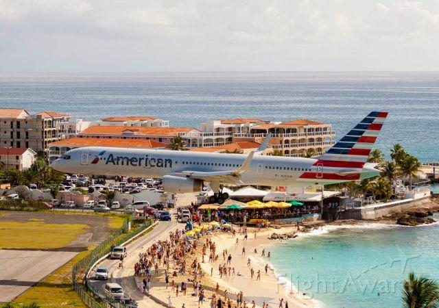 Boeing 757-200 (N203UW) - American airlines over maho beach at St Maarten