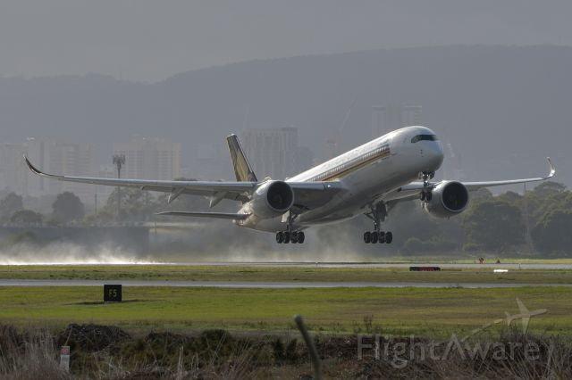 Airbus A350-900 (9V-SJA) - Adelaide, South Australia, May 13, 2020. Cargo only flight departing runway 23.