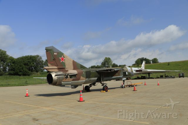 — — - 7/10/21 SAC Museum's recently received MiG-23. The wings were crated, to be installed once in the restoration hanger.